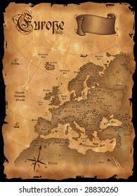 Vintage Europe map vertical