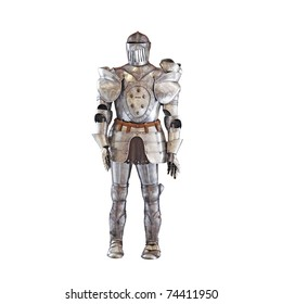 A vintage european full body armor suit isolated against white background.
