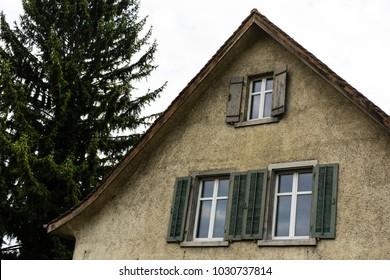 vintage european hosue with tree