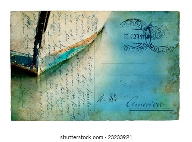 Vintage European postcard combined with a boat image.