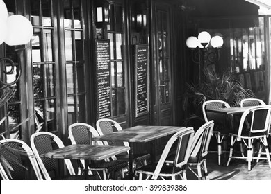 vintage european restaurant, black and white