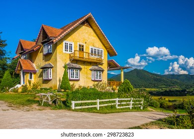 Vintage European style of yellow house in countryside of Mae Hong Son province, Northern Thailand