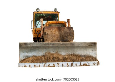 Vintage excavator working on clearing the land isolate on white background.