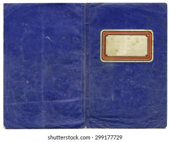 Vintage exercise book - open cover with empty label and grungy surface - perfect in detail! - xl size