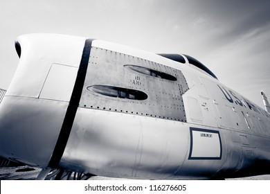 A vintage F-86 Sabre jet on display