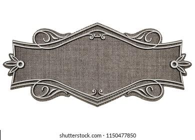 Vintage fabric frame isolated on white background
