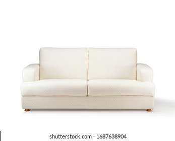 Vintage fabric sofa on neutral background