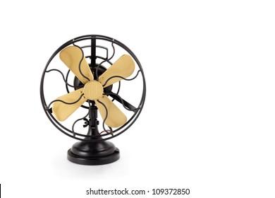 Vintage fan on white background