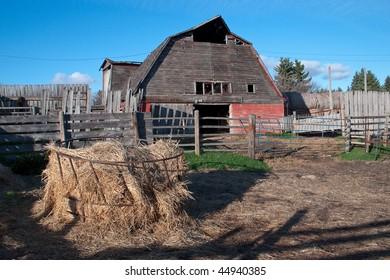 Vintage farm on an old farm yard on the Canadian prairies.