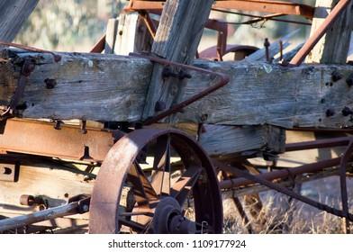 Vintage farm wagon in park, Quorn, South Australia