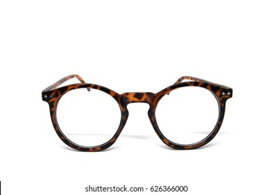vintage fashion Eyeglass frame isolated on white background cut out top view