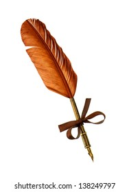 vintage feather ink pen isolated on white background