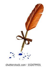 vintage feather pen with blue ink stains isolated on white background
