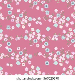 Vintage feedsack pattern in small flowers. Millefleurs. Floral sweet seamless background for textile, cotton fabric, covers, wallpapers, print, gift wrap and scrapbooking. Raster copy.