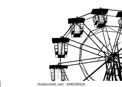 Vintage ferris wheel silhouette, on white isolated background.