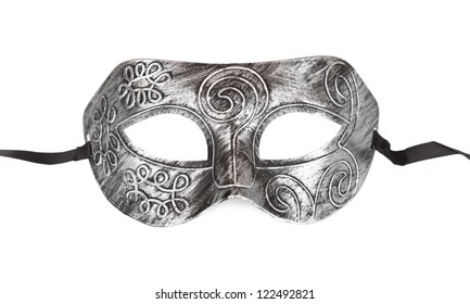 Vintage festive silver dress mask with swirls pattern isolated on white  background