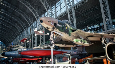 Vintage fighter airplanes at the Royal Museum of the Armed Forces and Military History in Brussels, Belgium - September 2014