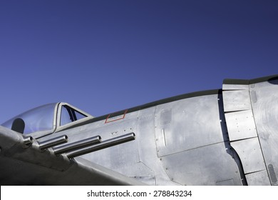 Vintage fighter guns cockpit and fuselage