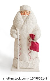 Vintage figure of Ded Moroz, or Jack Frost, or Santa Claus on white background. This toy was manufactured in 1983 in USSR.