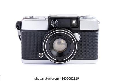 Vintage film camera isolated on white background.