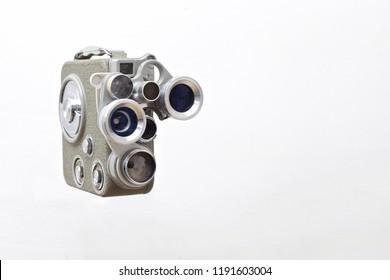 vintage film camera on white background