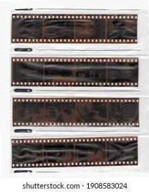 Vintage film pieces in a file. Negative images.