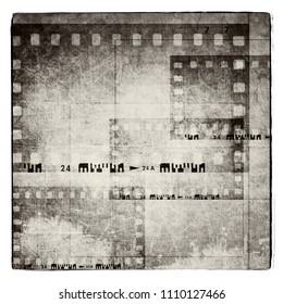 Vintage film strip background. Black and white  tones.