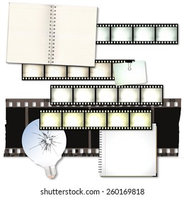 Vintage film strip background with notebooks and cracked light bulb