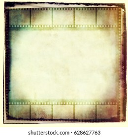 Vintage film strip frame in sepia tones.