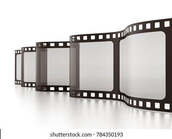 Vintage film strip isolated on white background. 3D illustration.