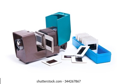 Vintage filmstrip projector on the white background. Old projector for displaying of slides.
