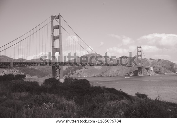 Vintage Filter Black White San Francisco Stock Photo Edit