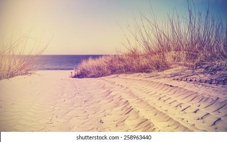 Vintage filtered beach, nature background or banner.