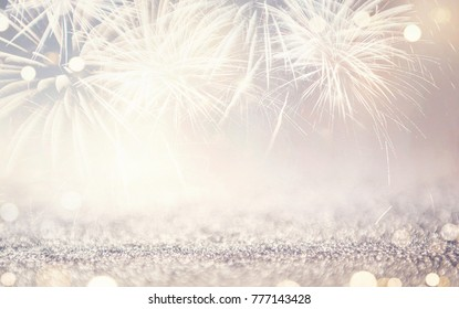 Vintage Fireworks and bokeh in New Year eve and copy space. Abstract background holiday.