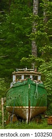 vintage fish boat high and dry on Quadra Island BC Canada