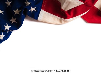 A vintage flag of the United States of America on white with copy space