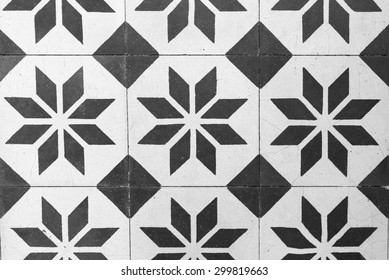 Vintage Floor Tile in Black and White