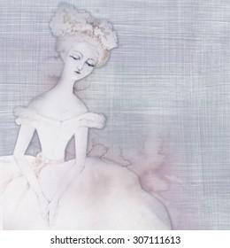Vintage floral background with ballerina. Raster illustration.