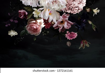 Vintage floral card. Beautiful garden flowers. Peonies, roses, tulips, lily, hydrangea on black background. Template for business cards, covers, cosmetics packaging, interior decoration, phone case.