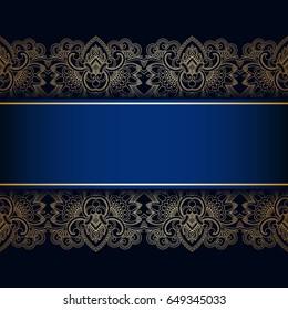 Vintage floral decorative background for design invitation card, booklet, print. Gold and blue. Raster version.