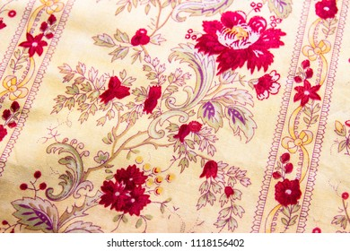 Vintage floral fabric pattern background,Flowers fabric for background