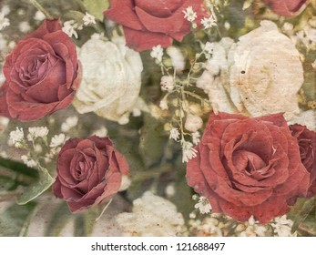 Vintage Floral Grunge Scrapbook Background with red and white roses