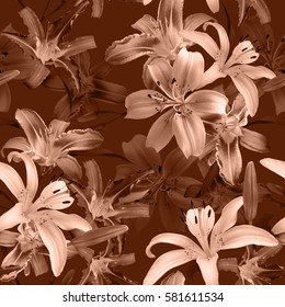 Vintage floral pattern blossom flowers orange colour lilies seamless background. Amazing photo collage for floral design.