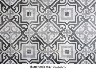 Vintage Floral Pattern Floor Tile