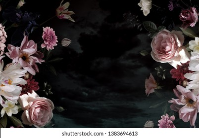 Vintage floral poster. Beautiful garden flowers. Peonies, roses, tulips, lily, hydrangea on black background. - Shutterstock ID 1383694613