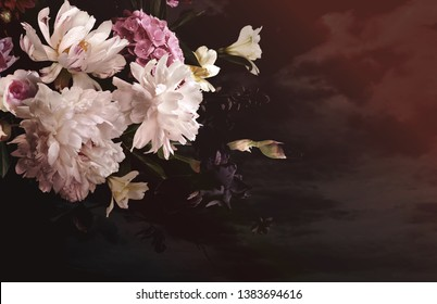 Vintage floral poster. Beautiful garden flowers. Peonies, roses, tulips, lily, hydrangea on black background.