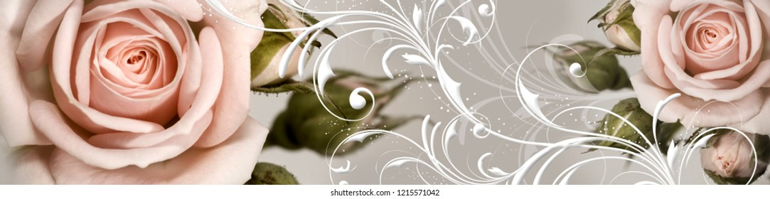 Vintage flower of rose with ornament. Panorama. Horizontal view for a glass panels (skinali).
