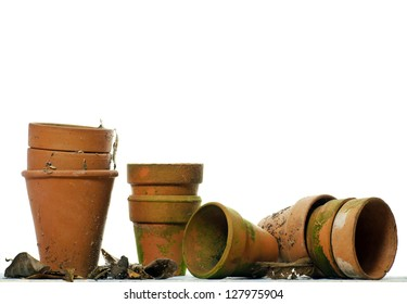Vintage flowerpots; isolated against white ground