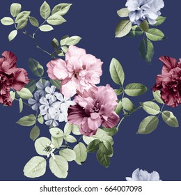 Vintage flowers and blue background