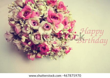 Vintage Flowers And Card Happy Birthday